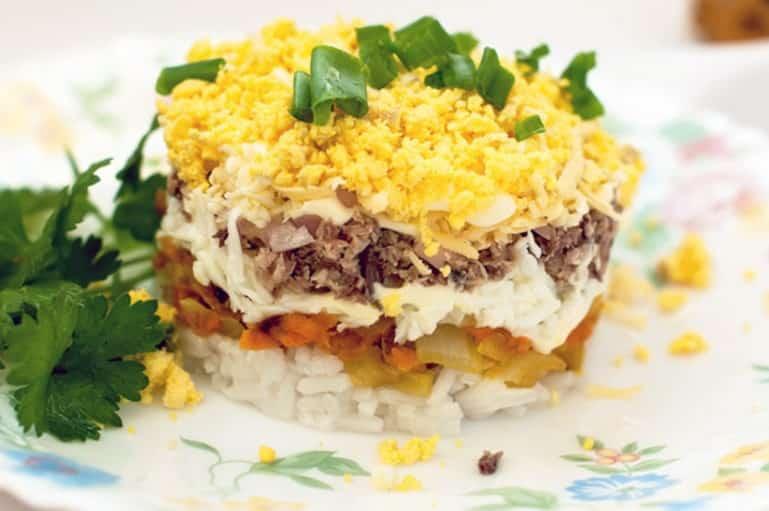 Рецепт салата мимоза с рисом