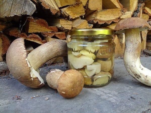 Маринованные белые грибы на зиму с луком